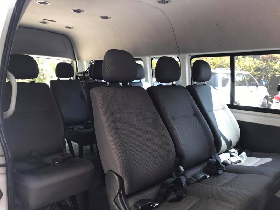 In side white van
